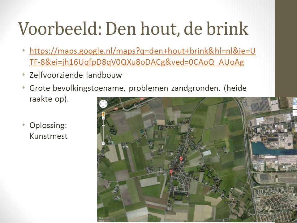 Voorbeeld: Den hout, de brink https://maps.google.nl/maps?q=den+hout+brink&hl=nl&ie=U TF-8&ei=jh16UqfpD8qV0QXu8oDACg&ved=0CAoQ_AUoAg https://maps.goog
