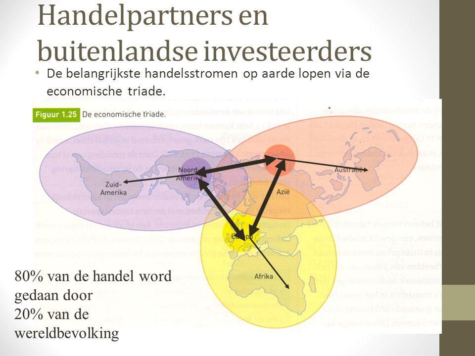Handelpartners en buitenlandse investeerders De belangrijkste handelsstromen op aarde lopen via de economische triade.
