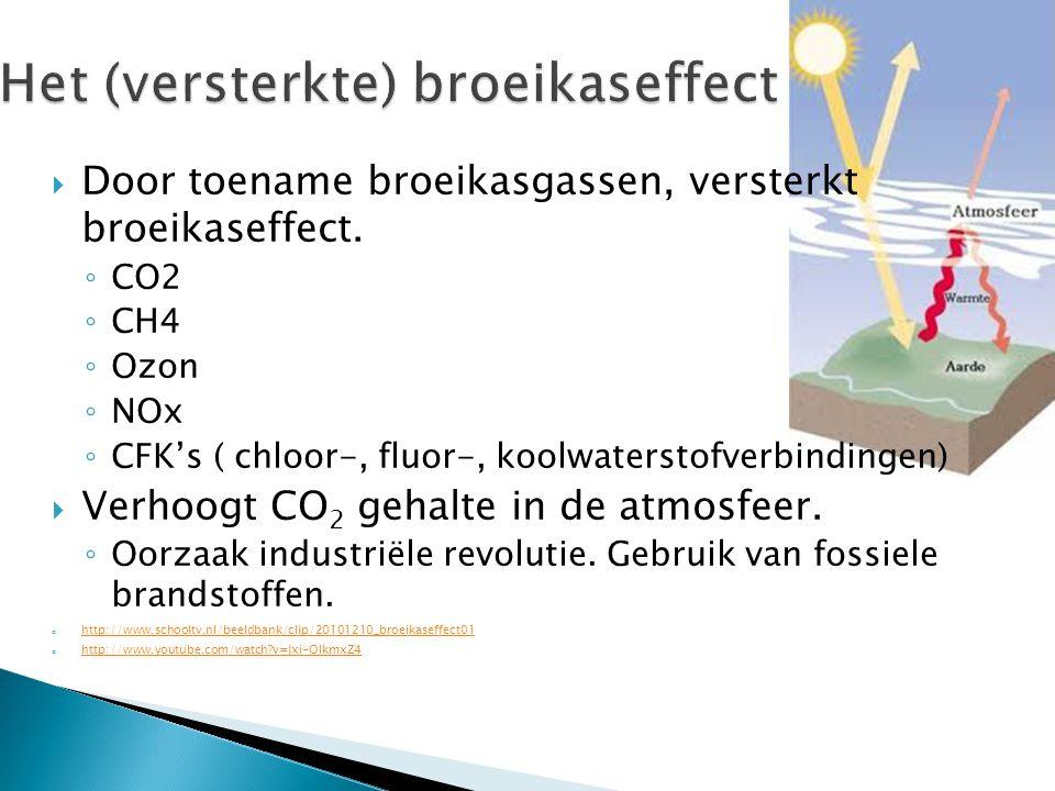  Door toename broeikasgassen, versterkt broeikaseffect.