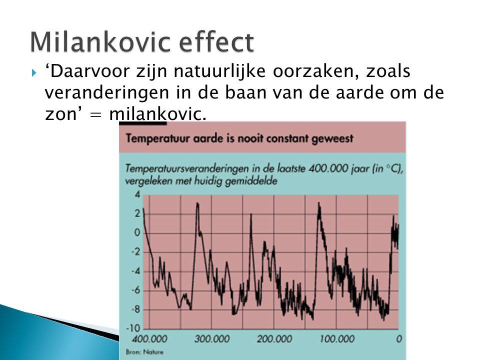  'Daarvoor zijn natuurlijke oorzaken, zoals veranderingen in de baan van de aarde om de zon' = milankovic.