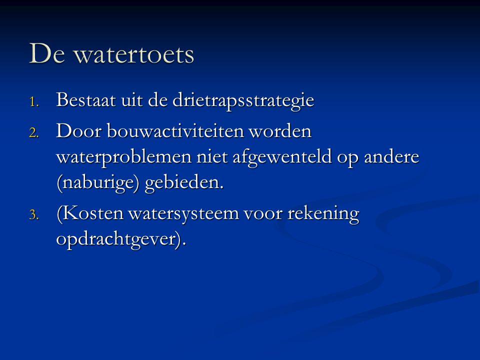 1. Bestaat uit de drietrapsstrategie 2. Door bouwactiviteiten worden waterproblemen niet afgewenteld op andere (naburige) gebieden. 3. (Kosten watersy