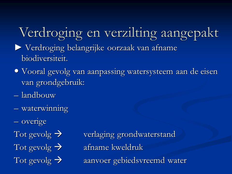 ► Verdroging belangrijke oorzaak van afname biodiversiteit. Vooral gevolg van aanpassing watersysteem aan de eisen van grondgebruik: Vooral gevolg van