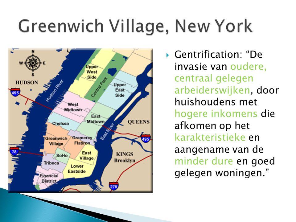 """ Gentrification: """"De invasie van oudere, centraal gelegen arbeiderswijken, door huishoudens met hogere inkomens die afkomen op het karakteristieke en"""