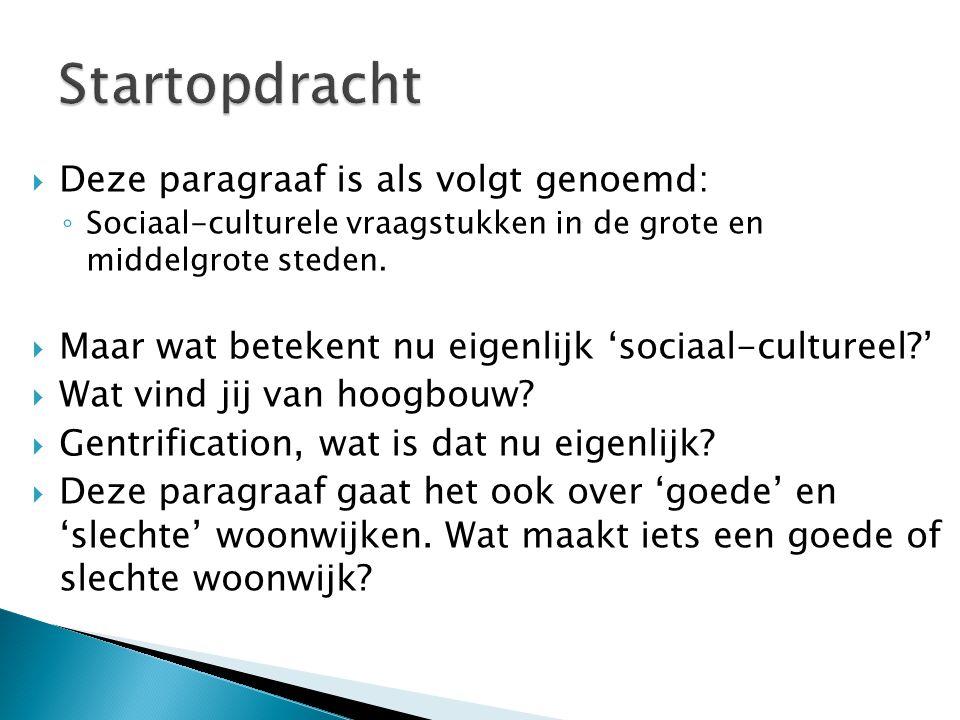  Deze paragraaf is als volgt genoemd: ◦ Sociaal-culturele vraagstukken in de grote en middelgrote steden.  Maar wat betekent nu eigenlijk 'sociaal-c