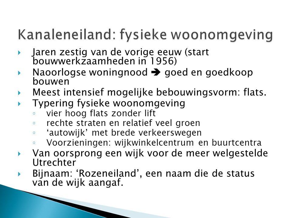 Kanaleneiland: fysieke woonomgeving  Jaren zestig van de vorige eeuw (start bouwwerkzaamheden in 1956)  Naoorlogse woningnood  goed en goedkoop bou