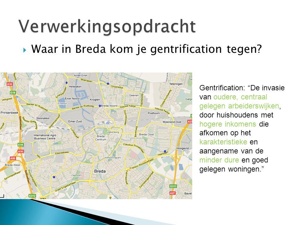 Gentrification: De invasie van oudere, centraal gelegen arbeiderswijken, door huishoudens met hogere inkomens die afkomen op het karakteristieke en aangename van de minder dure en goed gelegen woningen.