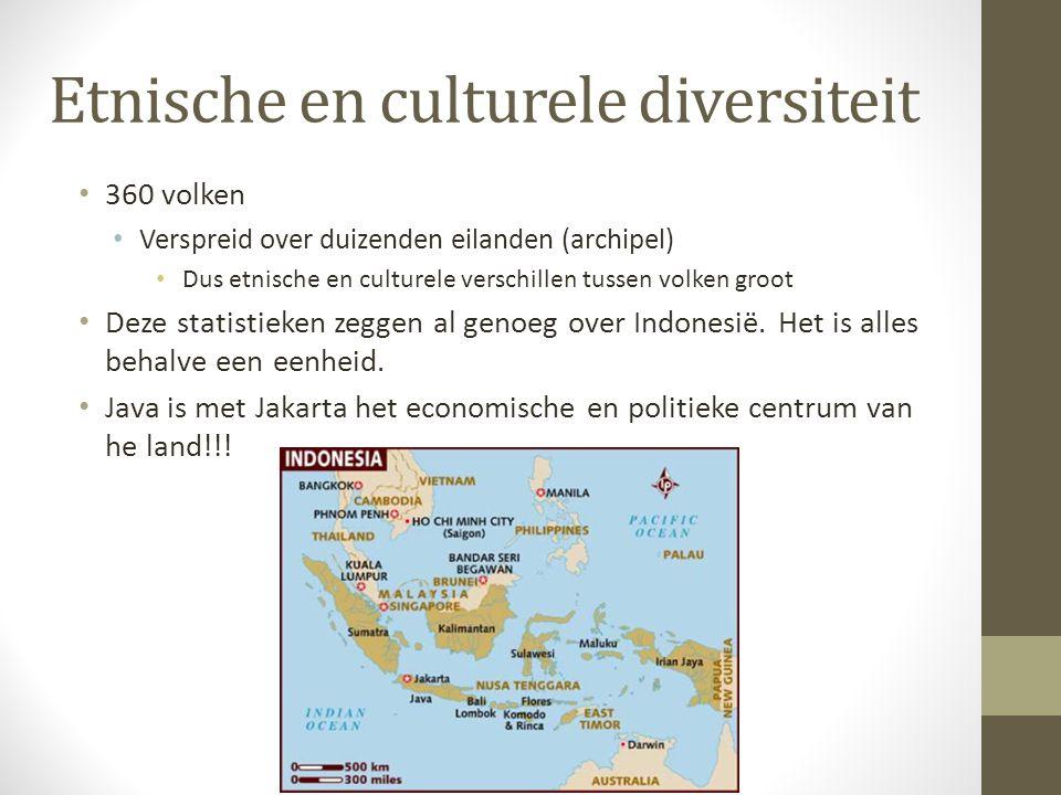 Etnische en culturele diversiteit 360 volken Verspreid over duizenden eilanden (archipel) Dus etnische en culturele verschillen tussen volken groot De