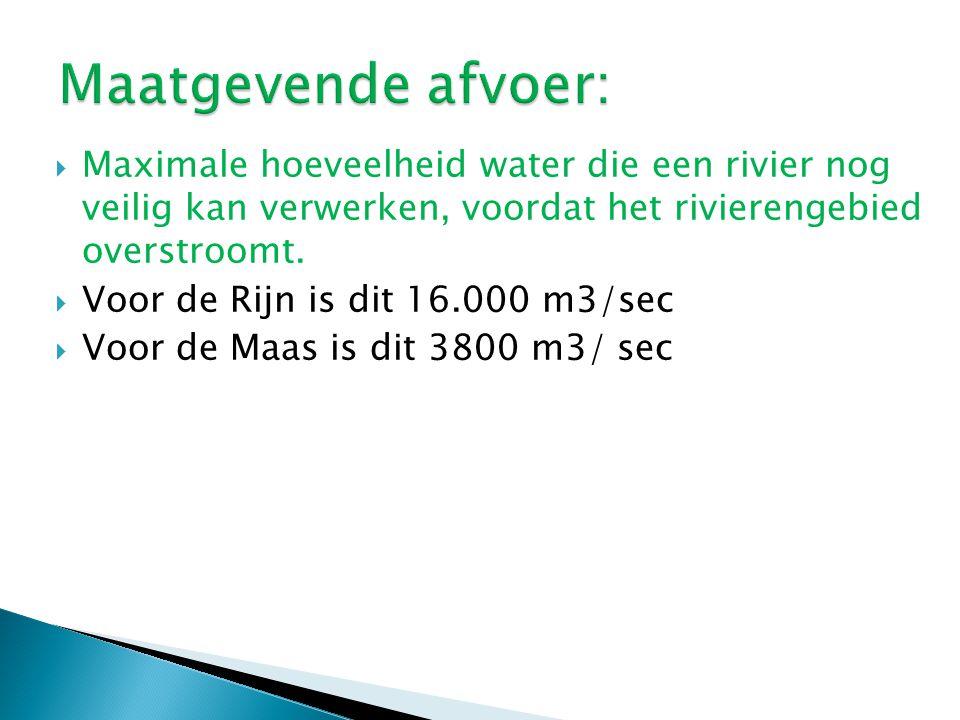  Maximale hoeveelheid water die een rivier nog veilig kan verwerken, voordat het rivierengebied overstroomt.  Voor de Rijn is dit 16.000 m3/sec  Vo