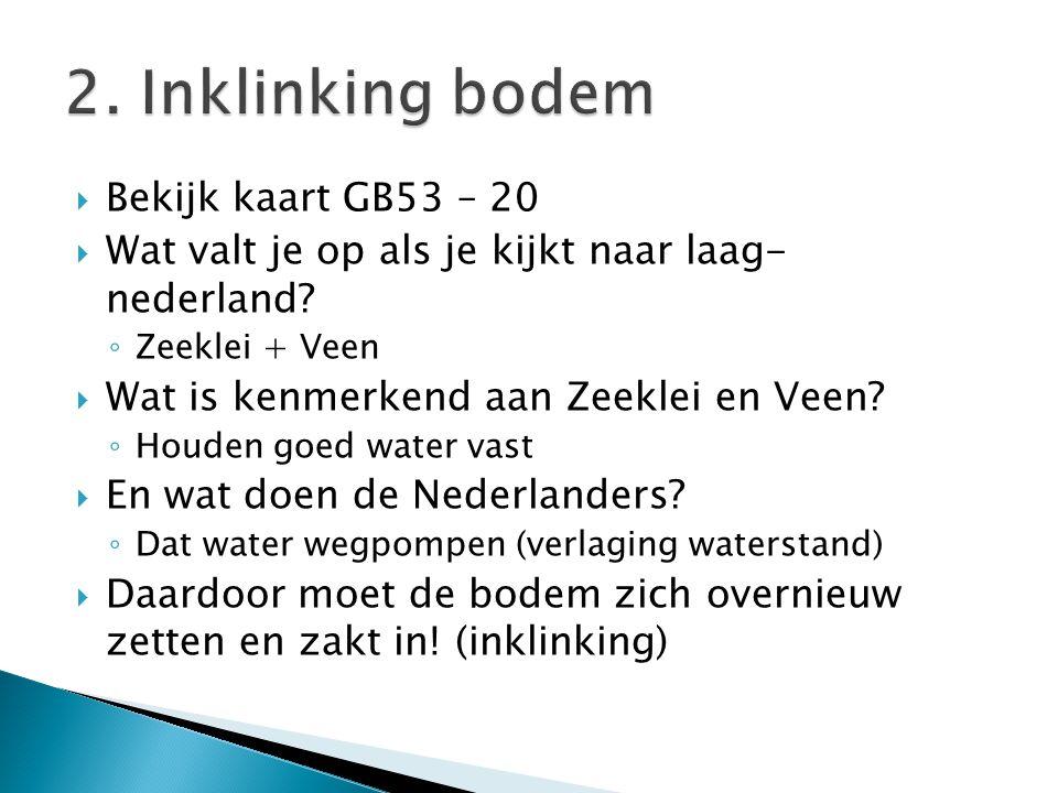  Bekijk kaart GB53 – 20  Wat valt je op als je kijkt naar laag- nederland? ◦ Zeeklei + Veen  Wat is kenmerkend aan Zeeklei en Veen? ◦ Houden goed w