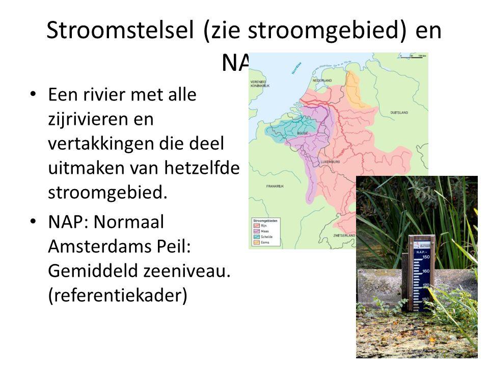 Een rivier met alle zijrivieren en vertakkingen die deel uitmaken van hetzelfde stroomgebied. NAP: Normaal Amsterdams Peil: Gemiddeld zeeniveau. (refe