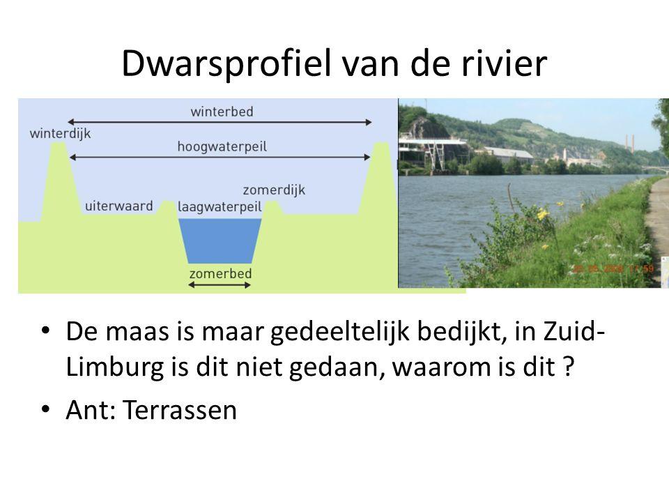 De maas is maar gedeeltelijk bedijkt, in Zuid- Limburg is dit niet gedaan, waarom is dit ? Ant: Terrassen Dwarsprofiel van de rivier