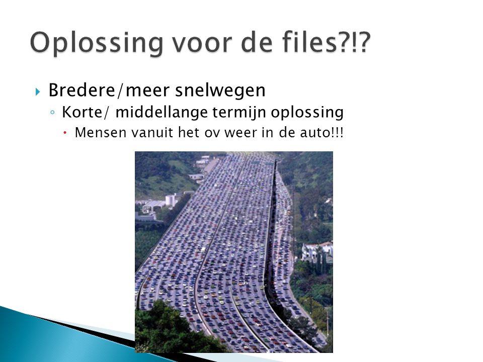 Bredere/meer snelwegen ◦ Korte/ middellange termijn oplossing  Mensen vanuit het ov weer in de auto!!!