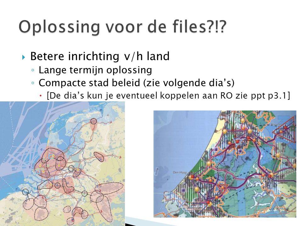  Betere inrichting v/h land ◦ Lange termijn oplossing ◦ Compacte stad beleid (zie volgende dia's)  [De dia's kun je eventueel koppelen aan RO zie pp