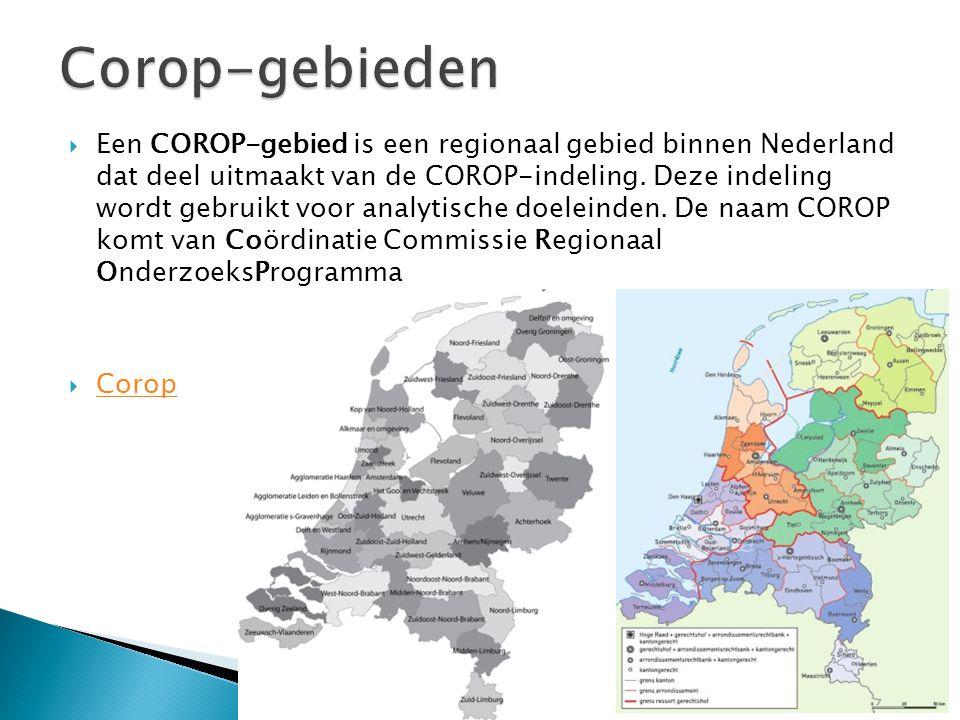  Een COROP-gebied is een regionaal gebied binnen Nederland dat deel uitmaakt van de COROP-indeling. Deze indeling wordt gebruikt voor analytische doe