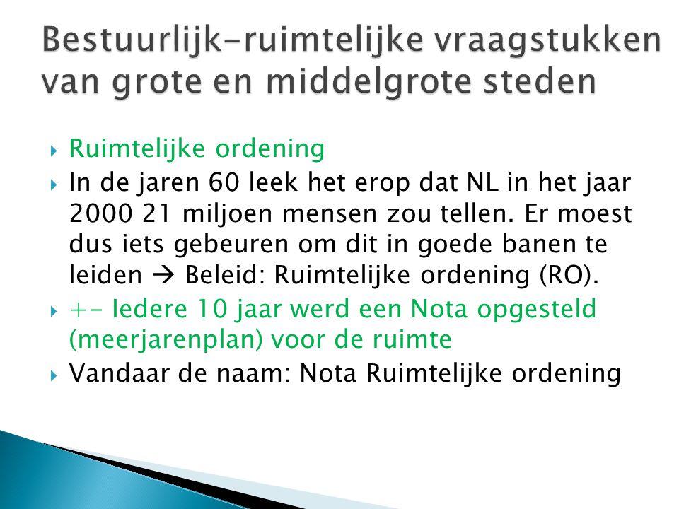 Ruimtelijke ordening  In de jaren 60 leek het erop dat NL in het jaar 2000 21 miljoen mensen zou tellen. Er moest dus iets gebeuren om dit in goede