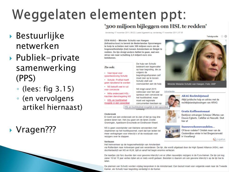  Bestuurlijke netwerken  Publiek-private samenwerking (PPS) ◦ (lees: fig 3.15) ◦ (en vervolgens artikel hiernaast)  Vragen???