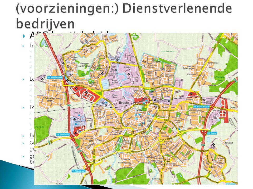 ABC locatiebeleid  Locatie A ◦ Optimale bereikbaarheid per openbaar vervoer op nationaal, regionaal, stadsgewestelijk en lokaal niveau ◦ Bereikbaarheid per auto van ondergeschikt belang ◦ Stringent parkeerbeleid ◦ Goede voorwaarden voor het gebruik van de fiets ◦ Aanwezigheid van voorzieningen draagt bij aan een aantrekkelijke verblijfs- en werkomgeving.