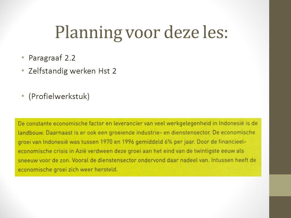 Planning voor deze les: Paragraaf 2.2 Zelfstandig werken Hst 2 (Profielwerkstuk)