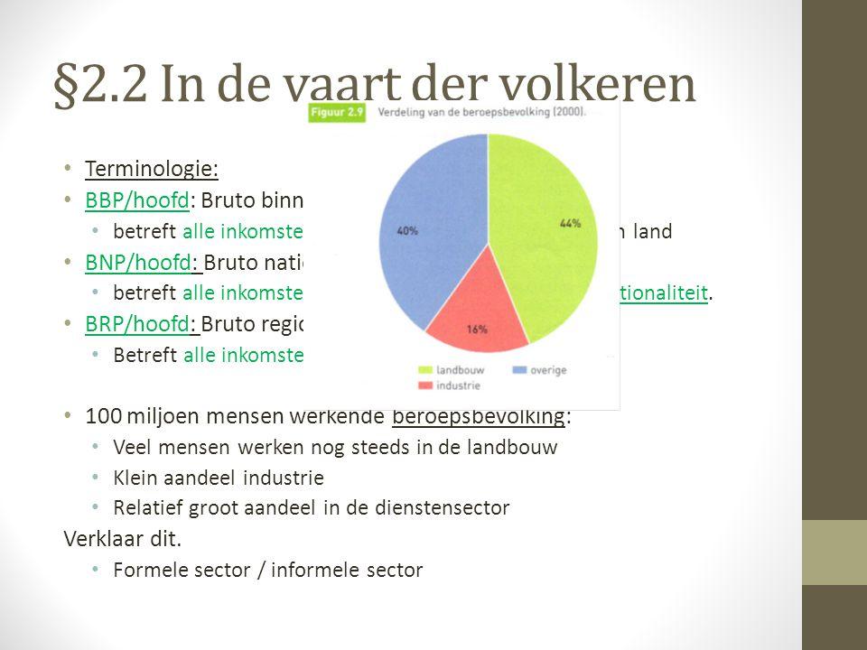 §2.2 In de vaart der volkeren Terminologie: BBP/hoofd: Bruto binnenlands product betreft alle inkomsten binnen de staatsgrenzen van een land BNP/hoofd