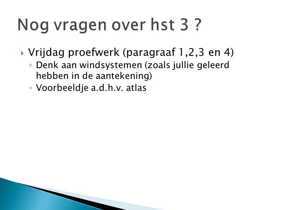  Vrijdag proefwerk (paragraaf 1,2,3 en 4) ◦ Denk aan windsystemen (zoals jullie geleerd hebben in de aantekening) ◦ Voorbeeldje a.d.h.v. atlas