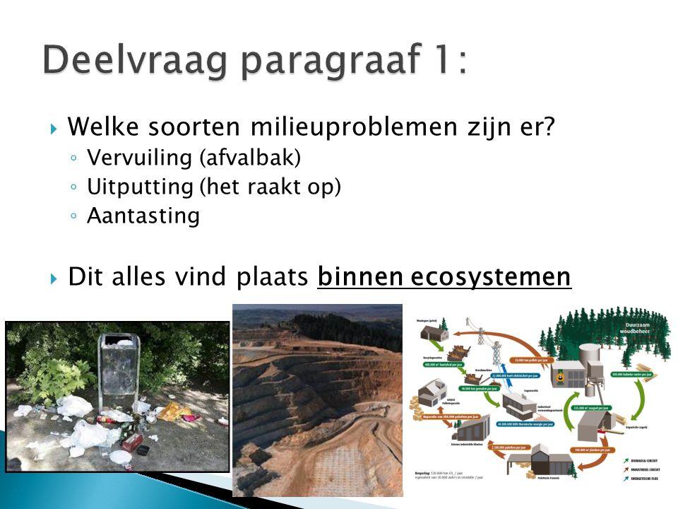  Welke soorten milieuproblemen zijn er? ◦ Vervuiling (afvalbak) ◦ Uitputting (het raakt op) ◦ Aantasting  Dit alles vind plaats binnen ecosystemen