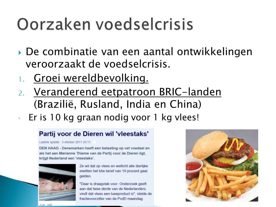  De combinatie van een aantal ontwikkelingen veroorzaakt de voedselcrisis. 1. Groei wereldbevolking. 2. Veranderend eetpatroon BRIC-landen (Brazilië,