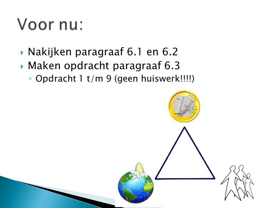  Nakijken paragraaf 6.1 en 6.2  Maken opdracht paragraaf 6.3 ◦ Opdracht 1 t/m 9 (geen huiswerk!!!!)