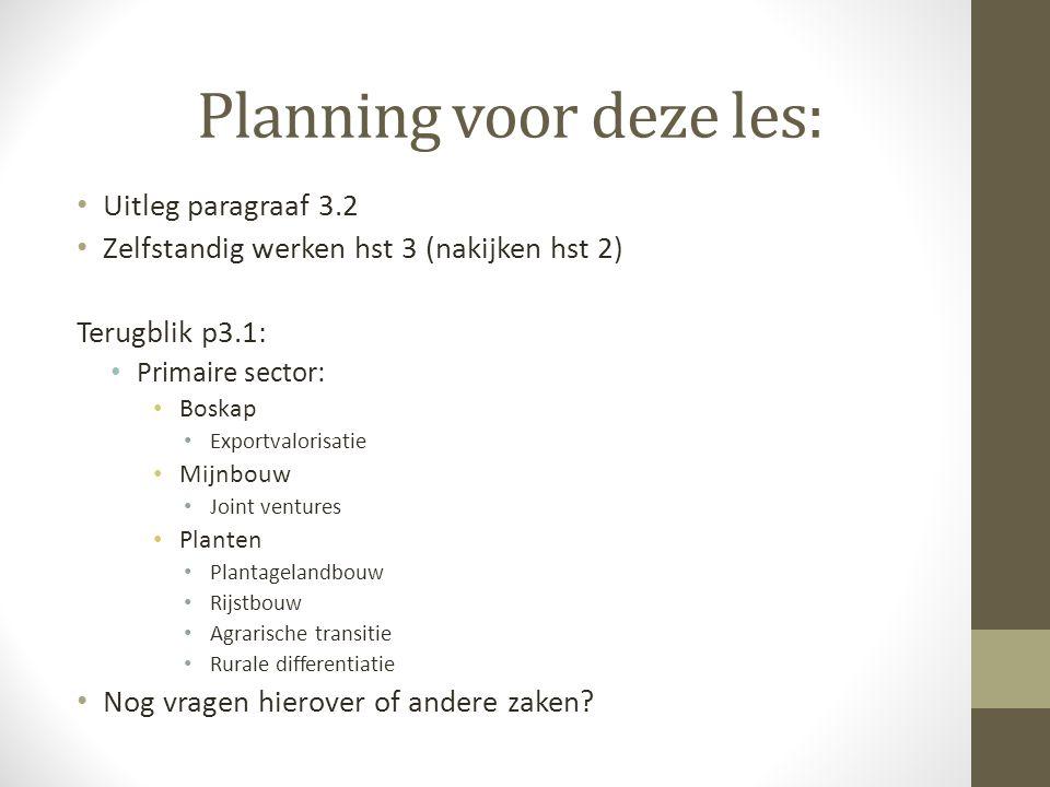 Planning voor deze les: Uitleg paragraaf 3.2 Zelfstandig werken hst 3 (nakijken hst 2) Terugblik p3.1: Primaire sector: Boskap Exportvalorisatie Mijnb
