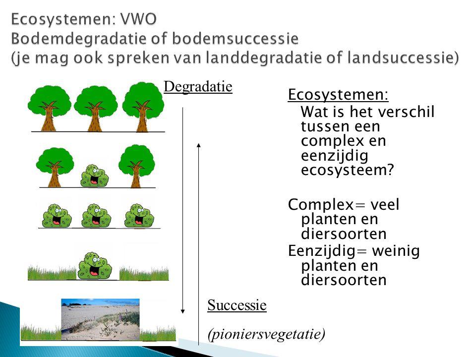  Complex ecosysteem: Stabiel evenwicht (v/d natuur) met een zeer hoge diversiteit aan planten- en diersoorten  Eenzijdig ecosysteem: Stabiel evenwicht (v/d natuur) met een lage diversiteit aan planten- en diersoorten  Wanneer spreek je van een grote of kleine diversiteit.