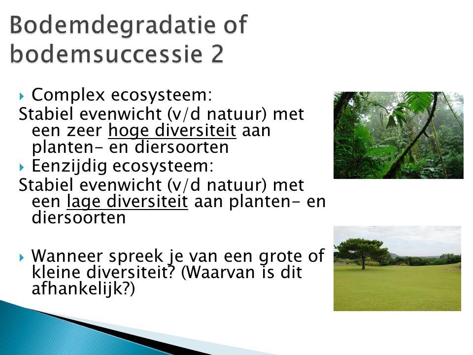  Diversiteit is afhankelijk van de hoeveelheid voedingsstoffen (dynamiek) die er in de bodem te vinden zijn.