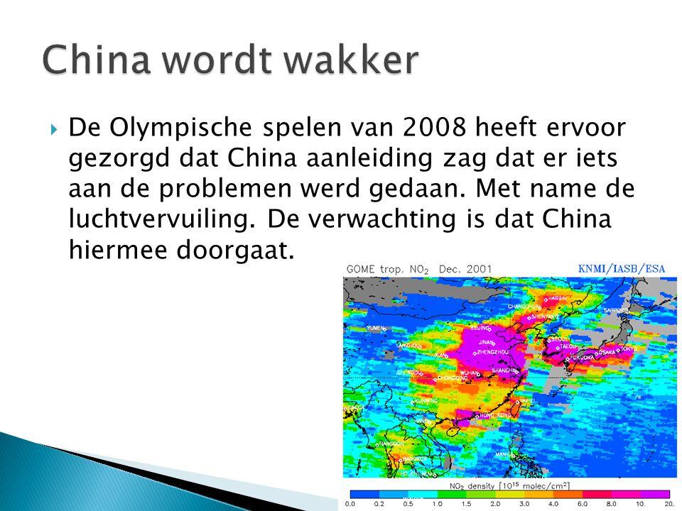  De Olympische spelen van 2008 heeft ervoor gezorgd dat China aanleiding zag dat er iets aan de problemen werd gedaan. Met name de luchtvervuiling. D