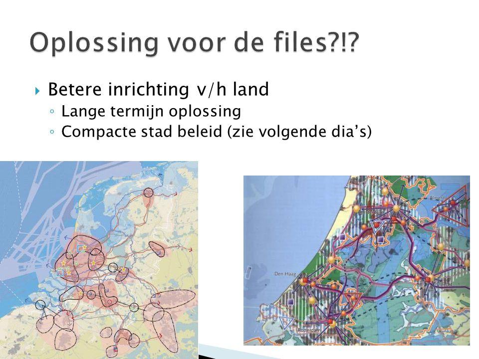  Betere inrichting v/h land ◦ Lange termijn oplossing ◦ Compacte stad beleid (zie volgende dia's)