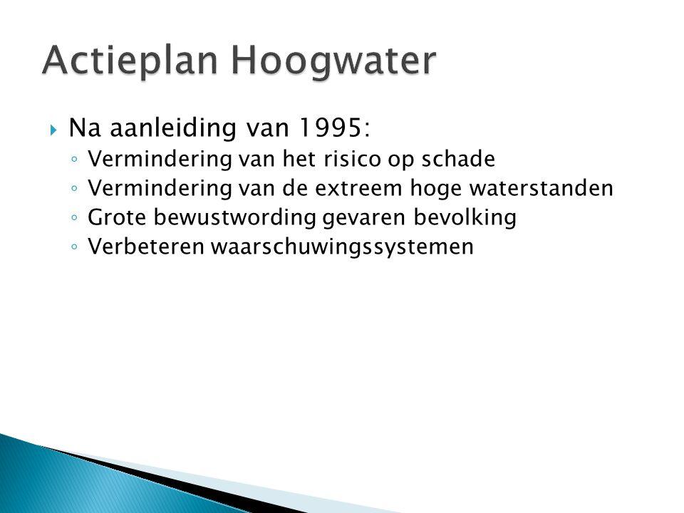  Na aanleiding van 1995: ◦ Vermindering van het risico op schade ◦ Vermindering van de extreem hoge waterstanden ◦ Grote bewustwording gevaren bevolking ◦ Verbeteren waarschuwingssystemen