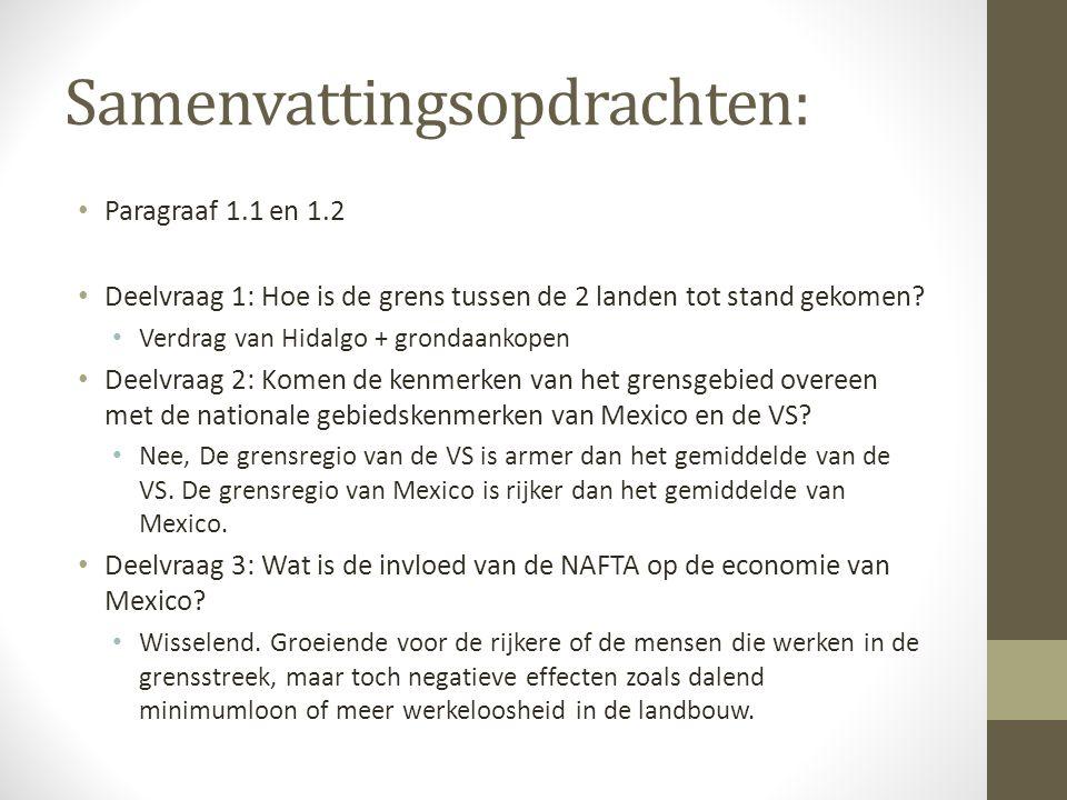 Samenvattingsopdrachten: Paragraaf 1.1 en 1.2 Deelvraag 1: Hoe is de grens tussen de 2 landen tot stand gekomen? Verdrag van Hidalgo + grondaankopen D