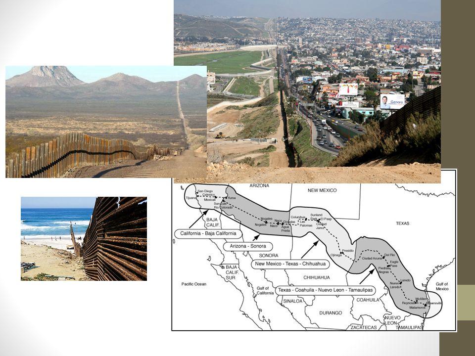 The border Verschillende verhalen: USA: Terroristen en criminelen Vluchtelingen: Voor werk Mexicanen: Familie