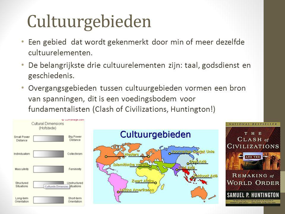 Cultuurgebieden Een gebied dat wordt gekenmerkt door min of meer dezelfde cultuurelementen. De belangrijkste drie cultuurelementen zijn: taal, godsdie