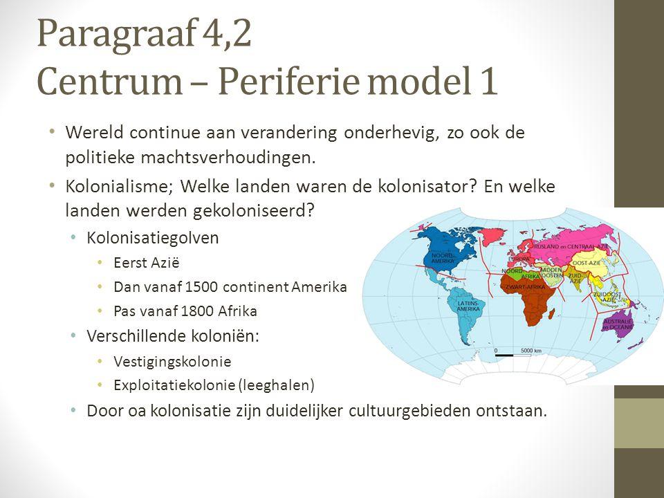 Paragraaf 4,2 Centrum – Periferie model 1 Wereld continue aan verandering onderhevig, zo ook de politieke machtsverhoudingen. Kolonialisme; Welke land