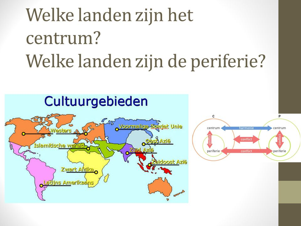 Centrum-periferie model 3 Het centrum-periferie model is toepasbaar op de wereld, maar je kunt ook verder inzoomen op beide streken.