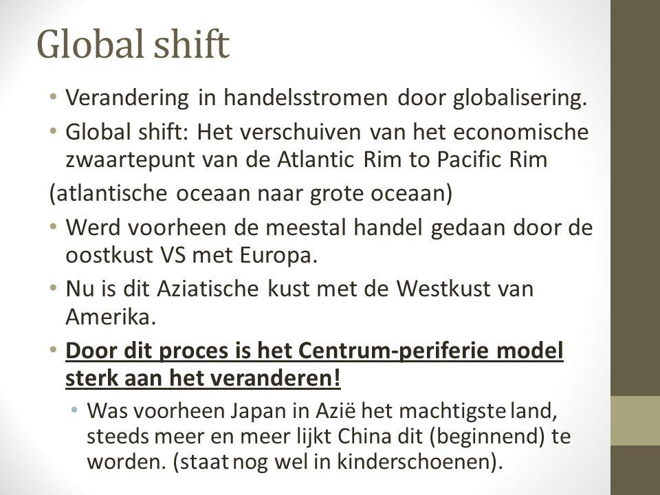 Global shift Verandering in handelsstromen door globalisering. Global shift: Het verschuiven van het economische zwaartepunt van de Atlantic Rim to Pa