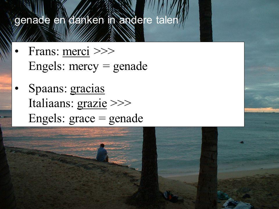 genade en danken in andere talen Frans: merci >>> Engels: mercy = genade Spaans: gracias Italiaans: grazie >>> Engels: grace = genade