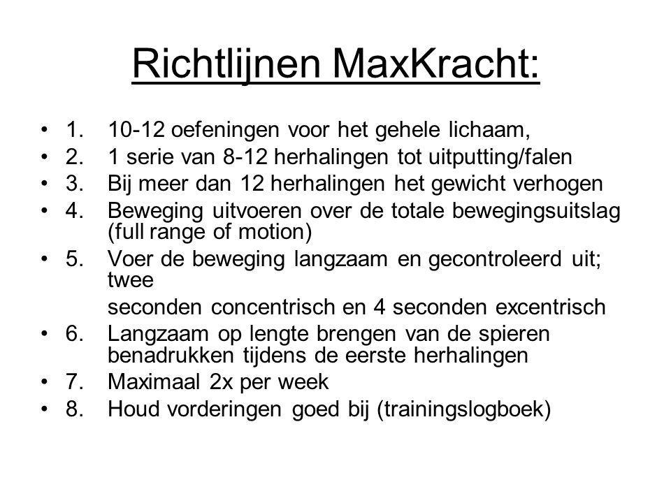 Richtlijnen MaxKracht: 1.10-12 oefeningen voor het gehele lichaam, 2.1 serie van 8-12 herhalingen tot uitputting/falen 3.Bij meer dan 12 herhalingen h