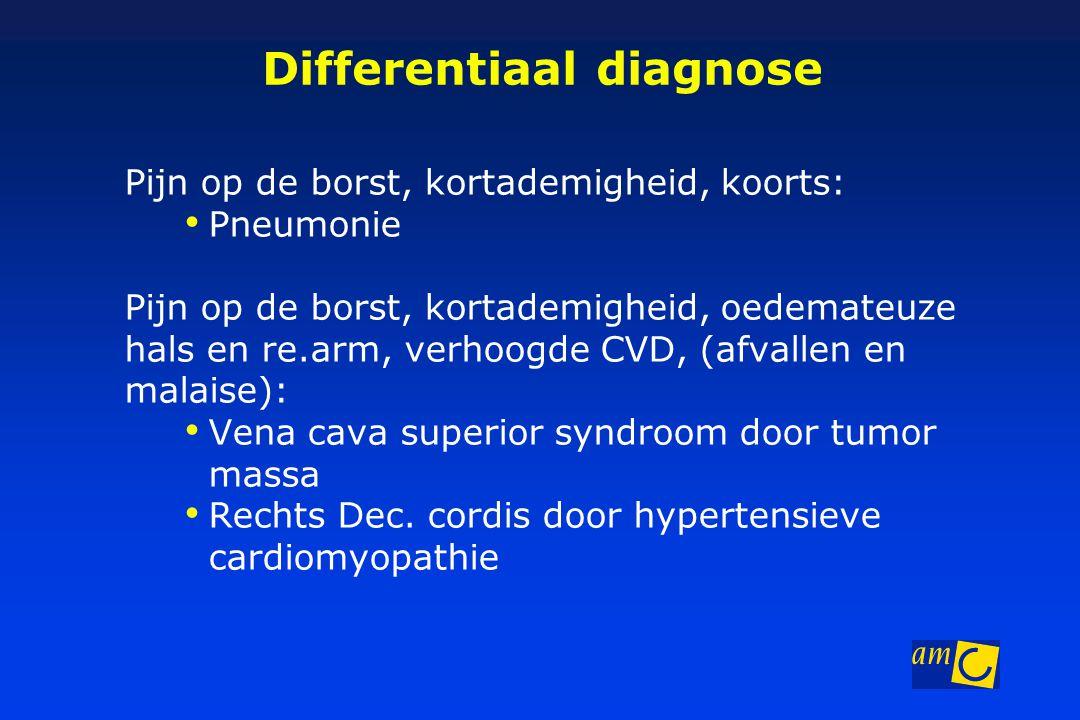 Differentiaal diagnose Pijn op de borst, kortademigheid, koorts: Pneumonie Pijn op de borst, kortademigheid, oedemateuze hals en re.arm, verhoogde CVD