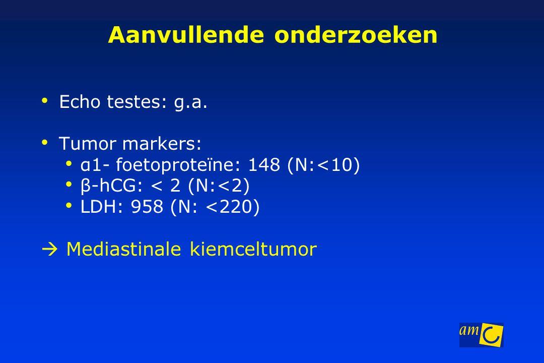 Aanvullende onderzoeken Echo testes: g.a. Tumor markers: α1- foetoproteïne: 148 (N:<10) β-hCG: < 2 (N:<2) LDH: 958 (N: <220)  Mediastinale kiemceltum