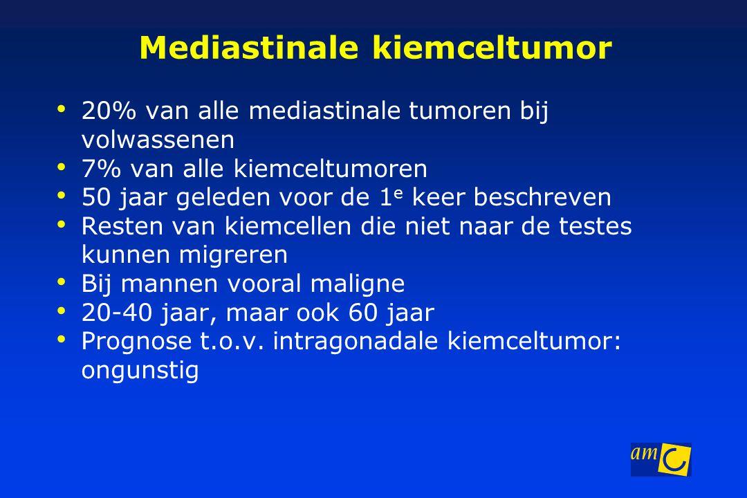 Mediastinale kiemceltumor 20% van alle mediastinale tumoren bij volwassenen 7% van alle kiemceltumoren 50 jaar geleden voor de 1 e keer beschreven Resten van kiemcellen die niet naar de testes kunnen migreren Bij mannen vooral maligne 20-40 jaar, maar ook 60 jaar Prognose t.o.v.