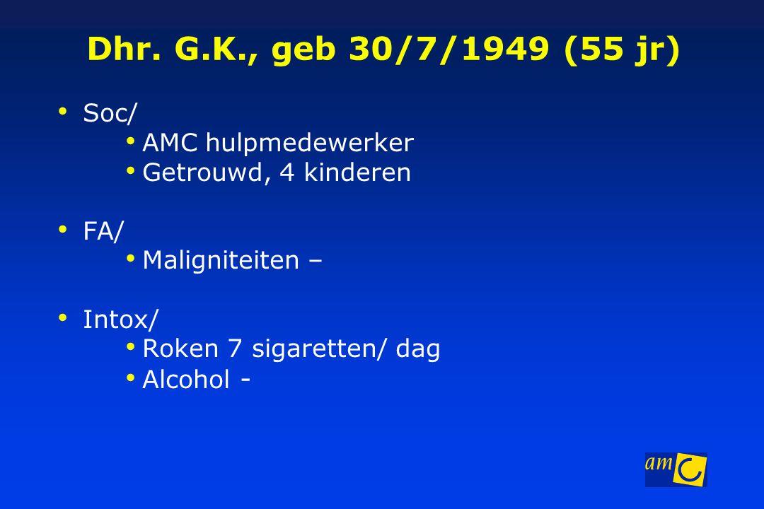 Dhr. G.K., geb 30/7/1949 (55 jr) Soc/ AMC hulpmedewerker Getrouwd, 4 kinderen FA/ Maligniteiten – Intox/ Roken 7 sigaretten/ dag Alcohol -