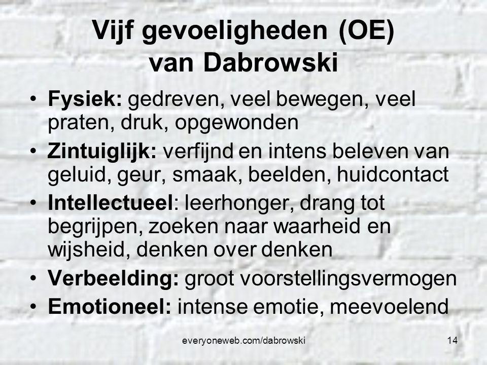 everyoneweb.com/dabrowski14 Vijf gevoeligheden (OE) van Dabrowski Fysiek: gedreven, veel bewegen, veel praten, druk, opgewonden Zintuiglijk: verfijnd