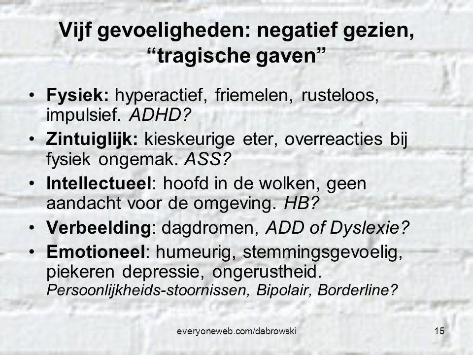 """everyoneweb.com/dabrowski15 Vijf gevoeligheden: negatief gezien, """"tragische gaven"""" Fysiek: hyperactief, friemelen, rusteloos, impulsief. ADHD? Zintuig"""