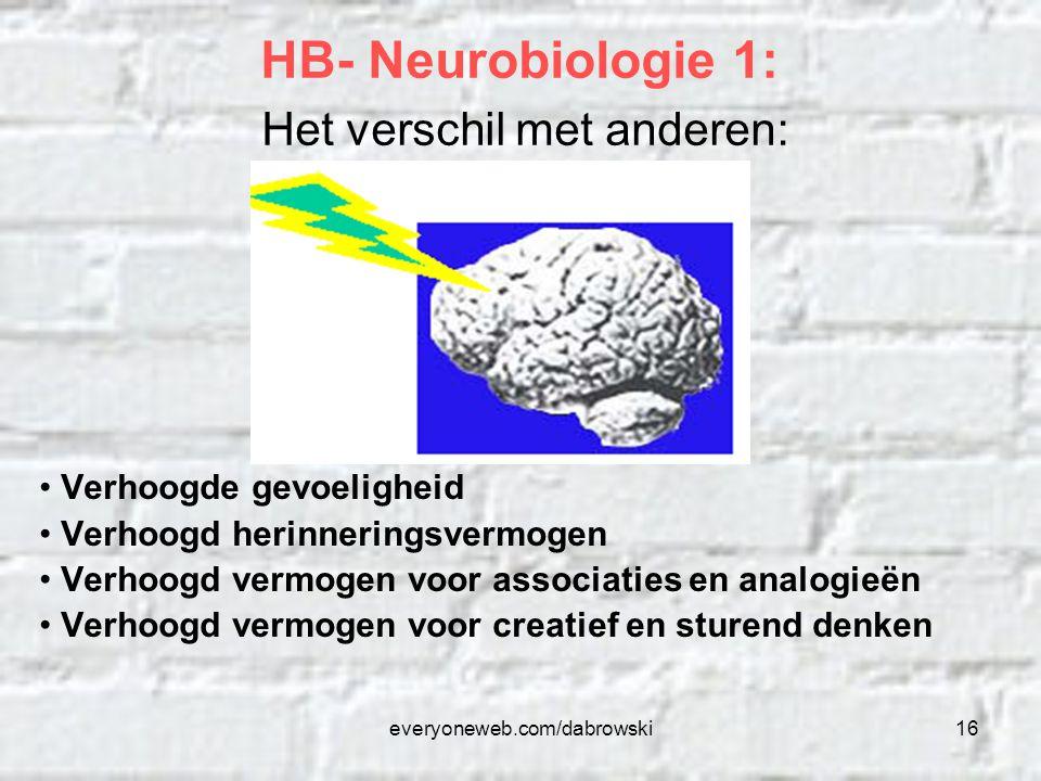 everyoneweb.com/dabrowski16 Verhoogde gevoeligheid Verhoogd herinneringsvermogen Verhoogd vermogen voor associaties en analogieën Verhoogd vermogen vo