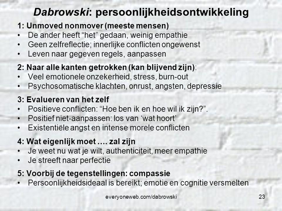 """everyoneweb.com/dabrowski23 Dabrowski: persoonlijkheidsontwikkeling 1: Unmoved nonmover (meeste mensen) De ander heeft """"het"""" gedaan, weinig empathie G"""
