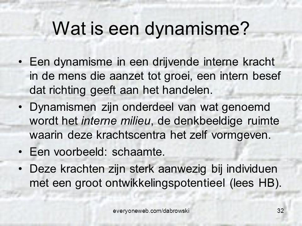 everyoneweb.com/dabrowski32 Wat is een dynamisme? Een dynamisme in een drijvende interne kracht in de mens die aanzet tot groei, een intern besef dat